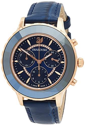 SWAROVSKI Octea Lux Cronógrafo de cuarzo rosa dorado con correa de cuero colección de reloj de cristal, 5563480, Azul
