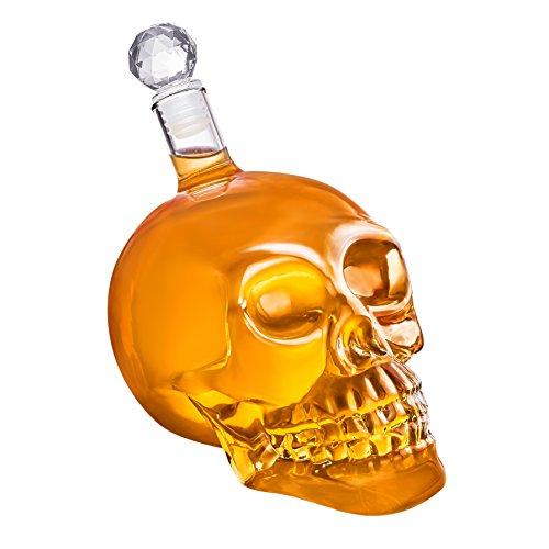 Totenkopf-Karaffe - Schädel-Flasche aus Glas mit Korken [350ml, 550ml oder 1000ml] Skull Head Glaskaraffe für Whisky, Wein und Spirituosen