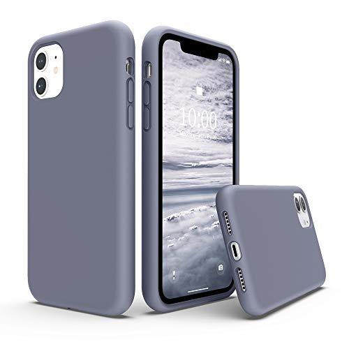 """SURPHY Cover Compatibile con iPhone 11, Custodia per iPhone 11 Silicone Liquido Cover Antiurto con Fodera in Microfibra, Full Body Protettiva Case per iPhone 11 6.1""""(2019), Grigio Lavanda"""
