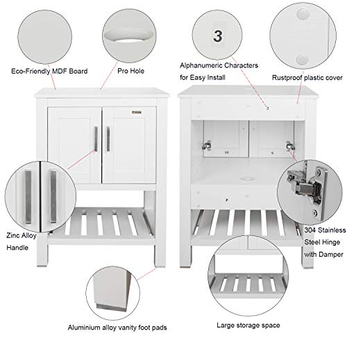 "eclife 24"" White Bathroom Vanity Cabinet Modern Pedestal Cabinet Set Pedestal Stand Wood with Bathroom Vanity Mirror Soft Closing Cabinet Doors Set (B06W)"