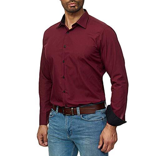 Fascino-M Camicia Elastica per Uomo Slim Fit Manica Lunga Casual Formale Camicie da Uomo Business Tuta Tempo Libero Slim Fit