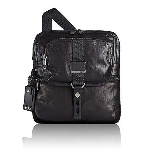 Tumi Alpha Bravo Arnold Leather Zip Flap Bolso Bandolera, 32 cm, Negro (Black Leather)