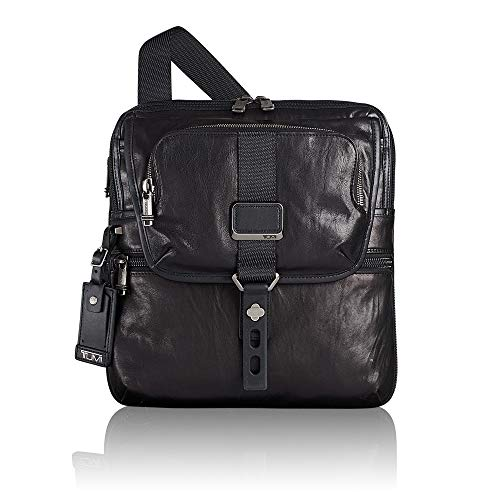 Tumi Alpha Bravo Arnold Leather Zip Flap Bolso Bandolera, 32 cm, Negro (Black Leather)