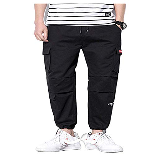 N/ A Herren Jogger Tapered Pants Cargohose Elasticated Waist Kordelzug Taschen Combat Cargo Pants Qualitätsarbeitshose