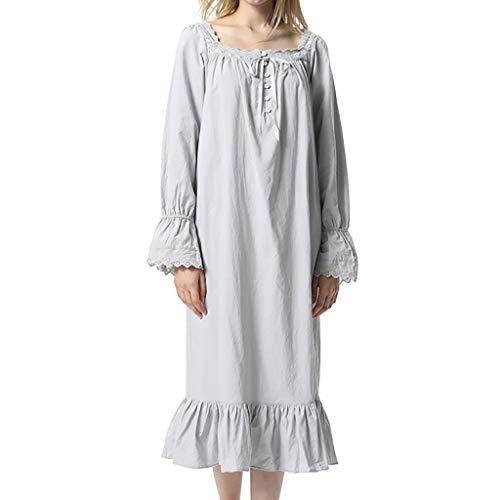 Amphia - Damen Nachthemd - Langarm/Langer Stil - Princess Palace Pyjamas - Frauen-Vintage-Pyjamas High-End-Prinzessin-Pyjamas Lang ÄrmelPyjamas