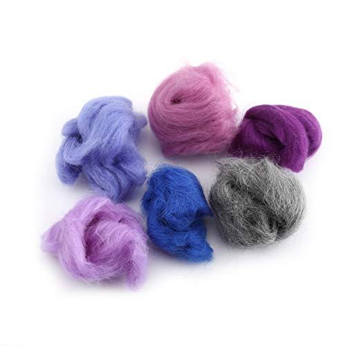 Shipenophy Fibra de Lana Spinning Textura Suave Firme 36 Colores Kit de Inicio de Fieltro de Aguja Juego Excelente Fibra de Lana de 36 Colores para Bricolaje para secar la Bola