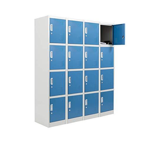 Racking Solutions 4 x 4 Door Metal Storage Lockers, Blue & Grey Steel Lockable Unit, Staff Gym School Changing 1850mm H x 380mm W x 450mm D