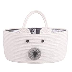LEEPES Baby Diaper Caddy Organizer – Stylish Rope Nursery Storage Bin – 100% Cotton Canvas Portable Diaper Storage Basket for Changing Table & Car – Top Baby Shower Gift (Bear)