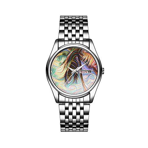Reloj de lujo para hombre, 30 m, impermeable, fecha, reloj de pulsera para hombre, deportivo, de cuarzo, informal, regalo abstracto, arco iris