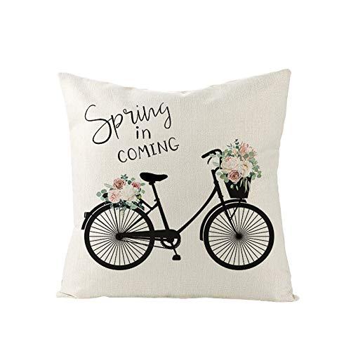 Happy Valentines - Fundas de almohada decorativas para sof, dormitorio, coche, primavera, decoracin del hogar, algodn, 45,7 x 45,7 cm
