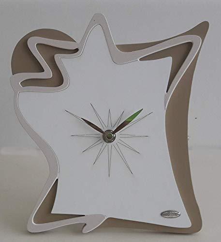 Cvc srl Wanduhr aus Holz mit Laser rechteckig 30 x 34 cm mit Dekor aus weißem Porzellan, Zeiger und Uhrwerk aus Metall - Gastgeschenk für Zuhause, Büro, Arbeit