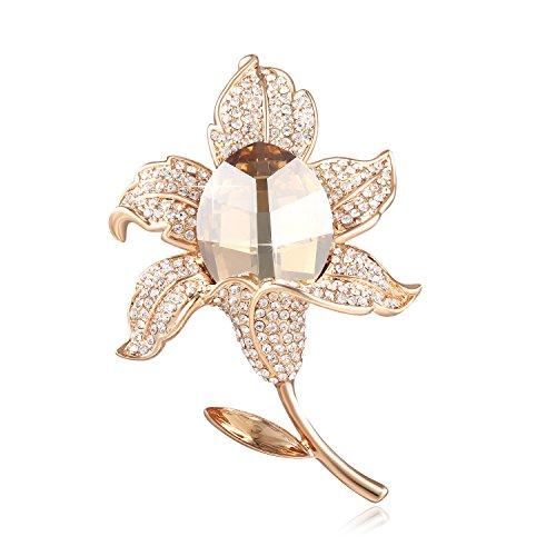 SUE'S SECRET Oro Broches de Mujer - Austríaco Cristal Swarovski - Broche de Flor Rosa - Bisuteria Broche Alfileres - Regalo de Joyería Ideal para Madre/Amigo/Hija/Novia/Niñ