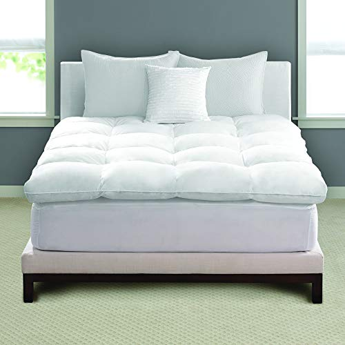 Pacific Coast Luxe Loft Baffle Box Feather Bed, Natural-fill Mattress Topper, Hypoallergenic, Queen, White