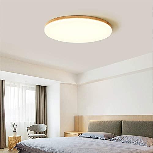 Lámparas de araña Plafon Redondo para Techo, Nordic Log LED Lights Lámpara De Techo Redonda para Dormitorio Simple Lámpara De Araña Moderna para Sala De Estar,Three Color dimming,110v