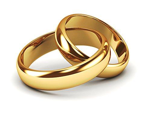 JC Trauringe 925er Sterling Silber Paarpreis I klassische & zeitlose Eheringe mit kostenloser Gravur I Verlobungsringe Gold Plattiert 5 mm breit im Etui I Herren-Ring & Damen-Ring I Gr. 48 bis 72 I P1
