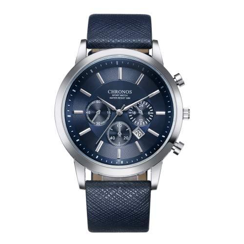 para los Relojes SSL CH0401 Tresmirilla Seis Agujas del Reloj Correa de Cuero de Deportes for los Hombres (Negro) (Color : Azul)