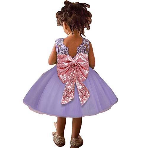 Mooyii Girls Sequin Lace Tulle Dress Bow Princess Party Flower Gown, Baby Mädchen Kleid - Prinzessin 3D Blume Tüll Kleid Armellos Hochzeit Festlich Partykleid Kleider