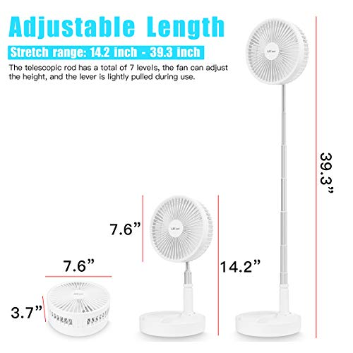 AICase Stand Fan,Folding Portable Telescopic Floor/USB Desk Fan with 7200mAh Rechargeable Battery,4 Speeds Super Quiet Adjustable Height and Head Great for Office Home Outdoor Camping