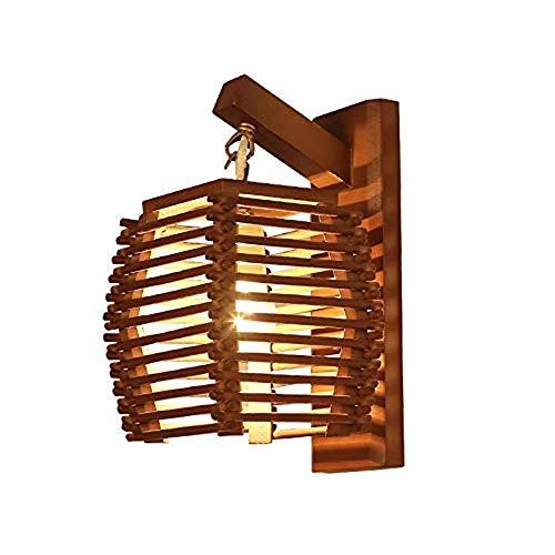LLLKKK Lámpara de pared para comedor, salón, dormitorio, mesita de noche, escaleras, pasillos, clásica, nostálgica, de madera