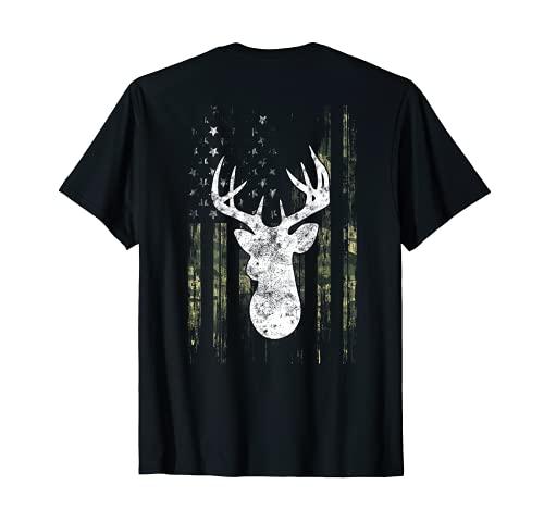 Camuflaje Americano Bandera De Estados Unidos Whitetail Buck Bow Caza De Ciervos Camiseta