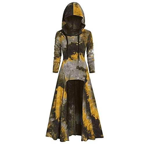 BIBOKAOKE Vêtement gothique femme à capuche robe médiévale Tie Dye Renaissance Costume Femme Vêtements Moyen-Âge Manches Longues Rétro Gothique Cosplay Costume Hoodie Asymétrique Maxi Robe