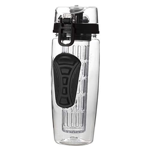 BESTonZON 1000 ML Fruit Infuser Wasserflasche 32 Unze Obst Sportflasche mit In voller Länge Infusion Stange Flip Top Deckel BPA FREI dicht Design (schwarz)
