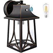 PARTPHONER Dusk to Dawn Outdoor Light Fixture Wall Mount, Aluminum Porch Light with Photocell Sensor, Exterior Wall Sconce Lighting Outside Wall Lantern with LED Bulb for Garage, Doorway