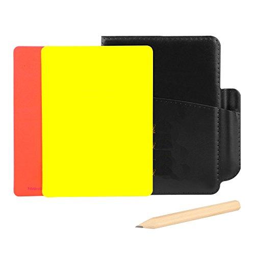 Tarjetas de advertencia de árbitro Tarjeta roja amarilla 4.33in × 3.15in con 5 fichas de hoja de puntuación Folleto de folleto