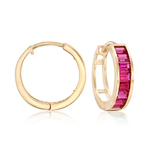 Ross-Simons Baguette Simulated Ruby Hoop Earrings in 14kt Yellow Gold For Women