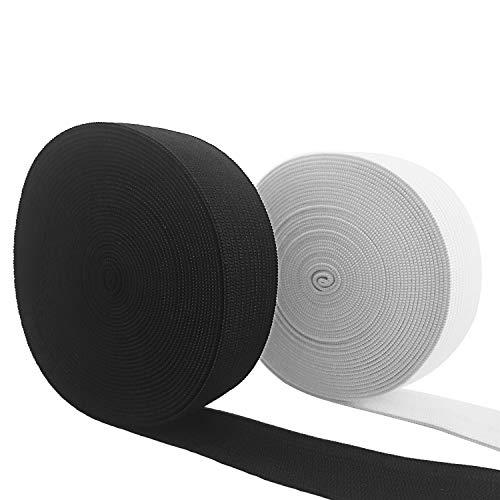 ✮Garantía De Por Vida✮-CZ Store-Banda elástica de costura de 10 METROS (11 Yardas)|Ancho 20 MM|Cinta Elástica de costura Prendas/Pantalones/Dobladillos- Elástica - Blanco y Negro - LOTE DE 2|
