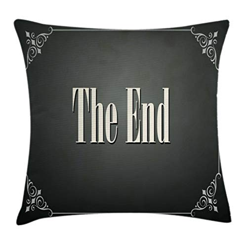 Movie Theater Throw Pillow Cushion Cover, End Words Swirled Frame on an Abstract Ombre Background, Decorative Square Accent Pillow Case 18inch*18inch