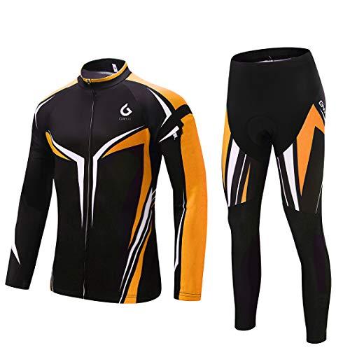 GWELL Herren Radtrikot Set Fahrrad Trikot Langarm und Radhose mit Sitzpolster Radsport-Anzüge Orange M