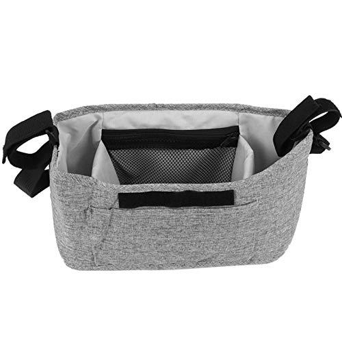 Bolsa de pañales gris y rosa para cochecito de bebé 90%(Linen gray bag (free shoulder strap))