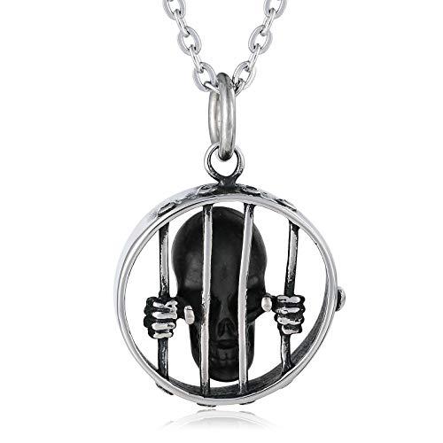 Beglie Unisex Halskette Zaun Gefangen Schädel Totenkopf Halskette aus Edelstahl Herren Kette mit Anhänger Frauen Silber Herren Gothic Kette