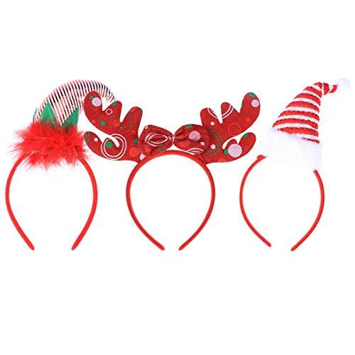 TOYVIAN 3 Piezas Diadema para Navidad Decoración Vendas de Papá Noel Diadema Juguetes de la Fiesta Cosplay Party...
