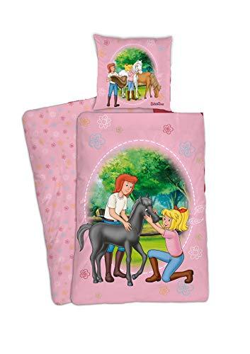 Bibi und Tina Bettwäsche-Set Renforce 135 x 200 80 x 80cm, 100% Baumwolle mit Pferd und Herzen, Blumen Pferd-e rosa