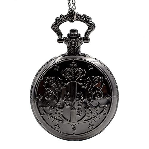 ZHJBD Relógio de bolso analógico com pingente de quartzo preto Kuroshitsuji para homens e mulheres (cor: preto)