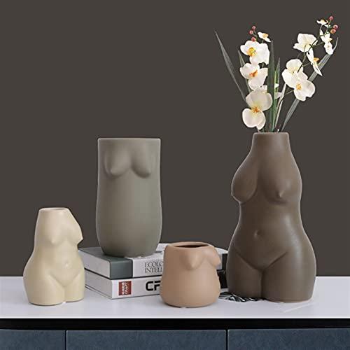 QIANGQSM Jarrones corporales Cerámica Cuerpo Arte Femenino Nude Manual Abstracto Secado Flor Pote Inicio TV Cabinete Escritorio Sala de Estar florero (Color : 4)