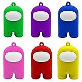 JSSEVN Lot de 6 porte-clés en forme de personnage animé Am_ong Us - Multicolore - Multifonctionnel - Cadeau d'anniversaire - Artisanat mignon