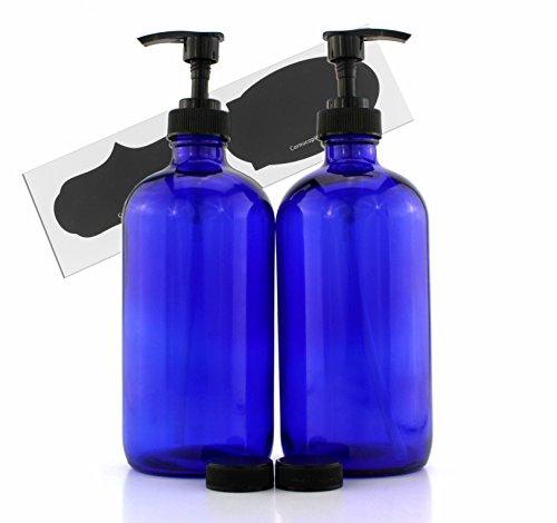 Cornucopia Brands 16-Ounce Cobalt Blue Glass Bottles w/Lotion Pump Dispensers (2-Pack); Refillable Liquid Soap, Hand Care, Pump Bottles + Chalk Labels & Lids, BPA-Free Plastic Tops