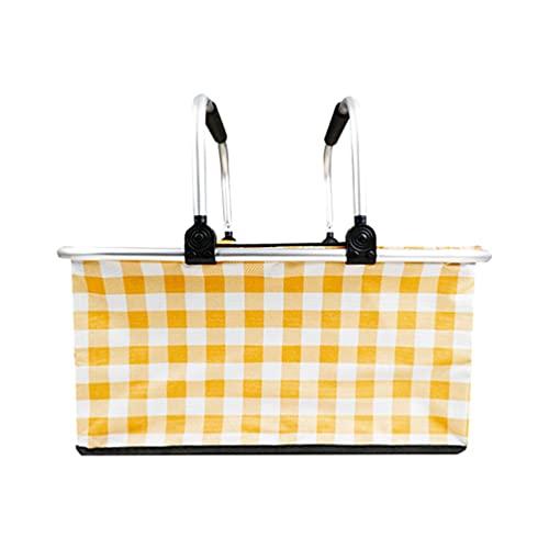 WINOMO Cesta de picnic aislada, 1 cesta de picnic plegable portátil de 30 l, plegable al aire libre, cesta de picnic gruesa para preservar el calor para viajes, camping (amarillo)