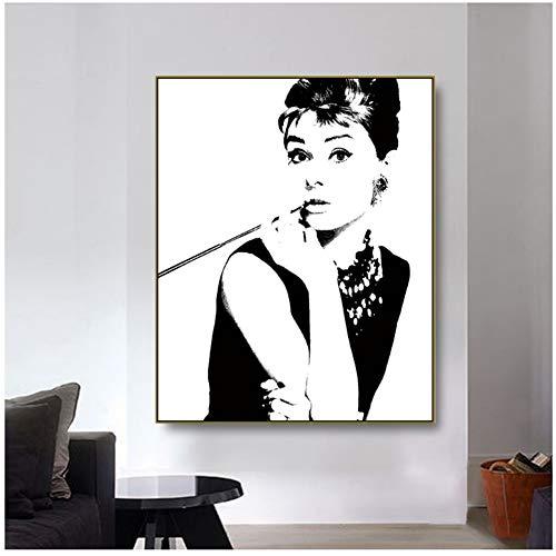 nr Audrey · Hepburn Pop-Art Schwarz-Weiß-Poster Bild Leinwand Malerei Wanddekoration Modernes Zuhause für Wohnzimmer Dekoration 50x70cm ungerahmt