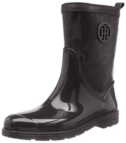 Tommy Hilfiger Damen Shiny CAMO RAIN Boot Gummistiefel, Schwarz (Black 990), 41 EU