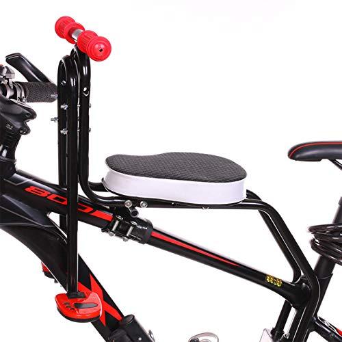 FHW Asiento De Bicicleta para NiñOs, Asiento De Seguridad, Asiento De Bicicleta Delantero, Asiento De Bicicleta para NiñOs Plegable, con Reposabrazos Y Pedales, Resistente Y Duradero,Negro
