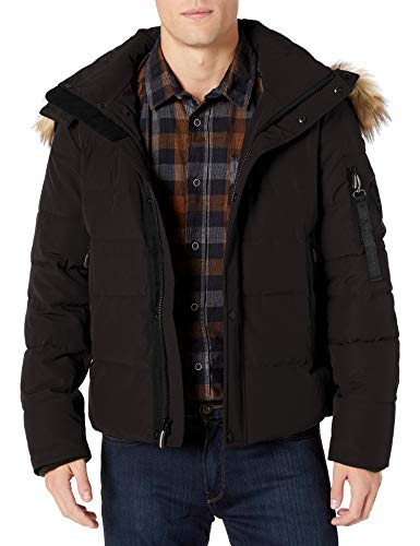 Vince Camuto Men's Puffer Jacket with Faux-Fur Trimmed Hood, Black, Small