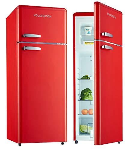 Wolkenstein Retro Kühl-Gefrier-Kombination Rot Glanz GK212.4RT A++ 206 Liter Nostalgie Design Kühlschrank