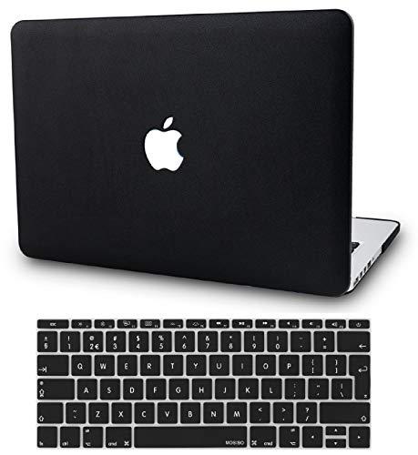 KECC MacBook Air 13 Hülle Leder Schutzhülle Case w/EU Tastaturschutz MacBook Air 13.3 Hülle {A1466/A1369} (Leder Schwarz)