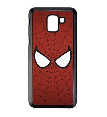 Coque pour Samsung Galaxy J6 2018 Les Yeux de Spiderman - Spiderman Eyes - Toile Spiderman - Coque Noire TPU Souple (Galaxy J6 2018)