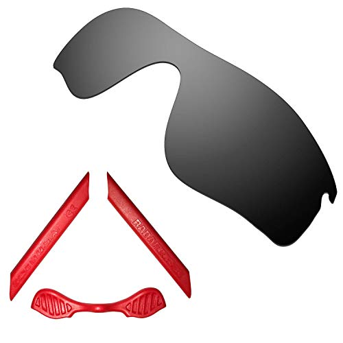 HKUCO For Oakley Radarlock Path Black Polarized Replacement Lenses And Red Earsocks Rubber Kit