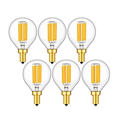 CRLight 6W 3000K Dimmable LED Candelabra Bulb Soft White, 65W Equivalent 650LM, E12 Base LED Filament Light Bulbs, G16 Globe Clear Glass Decorative Chandelier Bulbs, Smooth Dimming Version, 6 Pack